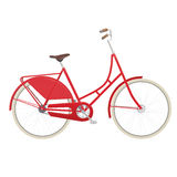 Vintage ladies bicycle. Vintage ladies red bicycle isolated on white background Stock Images