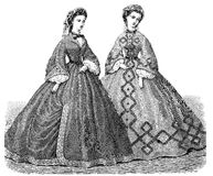 Vintage ladies fashion, black and white illustration, two ladies Royalty Free Stock Photo