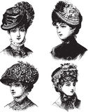 Vintage Ladies with hats vector illustration. Vintage Victorian Fashion Plate Ladies with hats vector illustration Royalty Free Stock Photos