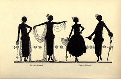 Vintage ladies illustration. An illustration with silhouettes of women in vintage costumes Stock Photos