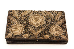 Vintage ladies' purse embroidered with metal thread Stock Images