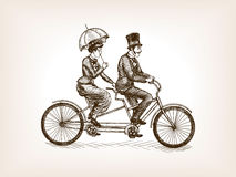 Vintage lady and gentleman bicycle sketch vector. Vintage lady and gentleman ride tandem bicycle sketch style vector illustration. Old engraving imitation vector illustration