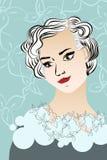 Vintage lady portrait. Vector illustration Stock Images