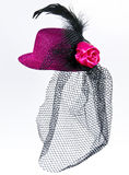 Vintage  lady's hat with a black veil isolated Royalty Free Stock Photography