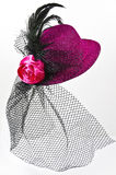 Vintage  lady's hat with a black veil isolated Royalty Free Stock Photos