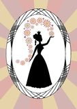 Vintage lady silhouette, lady throwing flowers, in oval frame on rays background, art deco style Stock Image
