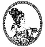 Vintage lady with tea Royalty Free Stock Images