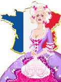 Vintage Lady in wig, gloves and a long dress with floral pattern. Madame de Pompadour lady-in-waiting on the background of a map of France Royalty Free Illustration