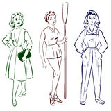 Vintage lady worker fashions set. Vector vector illustration