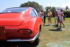 Vintage lamborghini rear end. Rear corner. rear lamp and wing. 1960s red Lamborghini 400 gt sports car. boca raton concours event in south florida stock photo