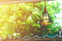 Vintage lamp, bulk light decorative in home.  royalty free stock photography