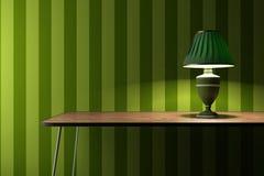 Vintage lamp on green wallpaper background. Vintage lamp on a desk with green wallpaper on background Royalty Free Illustration