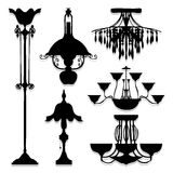 Vintage Lamp icons set great for any use. Vector EPS10. Royalty Free Stock Images