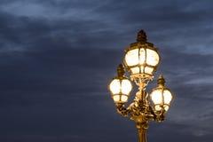 Vintage lamp post at dusk, Paris Royalty Free Stock Photography