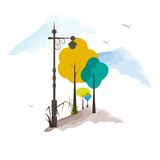 Vintage Lamp Post with Tree. Easy to edit vector illustration of vintage lamp post with tree stock illustration