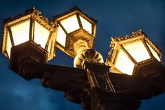Vintage lamp posts on on Cuban Street. Beautiful, ornate, metal lamp posts on a Cuban street Royalty Free Stock Photos