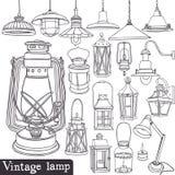 Vintage lamp set. Old gasoline lamps and vintage lamp set Stock Photo