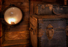 Vintage Lamp & Steamer Chests royalty free stock photos