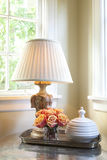 Vintage Lamp on Table Stock Photo