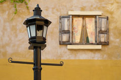 Vintage lamp and window backgr Royalty Free Stock Photo