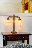 Vintage lamp on the wooden table Stock Photo
