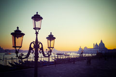 Vintage lamppost in San Marco square at sunset Stock Image