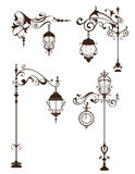 Vintage lamps with design elements and ornaments flourishes Stock Photography