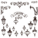 Vintage lamps set. Decoration page. Vector illustration Stock Photos