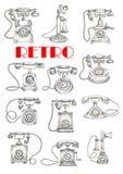 Vintage landline telephones, sketch style Royalty Free Stock Images
