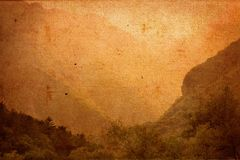 Vintage Landscape on Canvas Texture Royalty Free Stock Photo