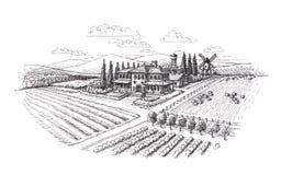 Vintage landscape. Farm, agriculture sketch Royalty Free Stock Image