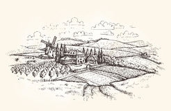 Vintage landscape. Farm, agriculture or wheat field sketch. Vector illustration Stock Images