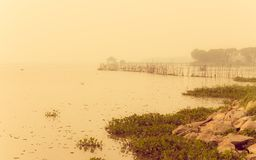 Vintage landscape with lake and fog Royalty Free Stock Photography