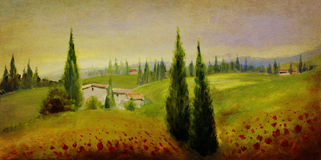 Vintage landscape painting Stock Images
