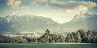 Vintage Landscape Panorama with Mountains Royalty Free Stock Photo