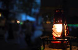 Vintage lantern. In the street, night Stock Photography