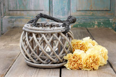 Free Vintage Lantern And Bouquet Of Yellow Carnations Stock Image - 41163971