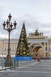 Vintage lantern Christmas tree on Palace square Stock Photo