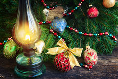 Vintage lantern with christmas wreath Royalty Free Stock Photos