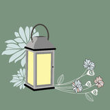 Vintage Lantern and flowers Stock Photography