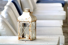 Vintage lantern. S on the beach restaurant royalty free stock images