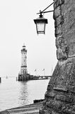 Vintage lantern on Lindau harbour Royalty Free Stock Images