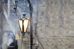 Vintage lantern in a medieval castle Royalty Free Stock Photos