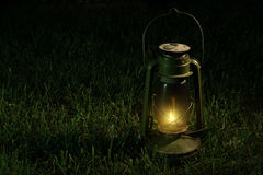 Vintage lantern in the night. Stock Photo