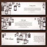 Vintage lantern vector banner background set. Retro antique backrop for business. Classic hanging light cover. Illustration. Elegant invitation postcard paper vector illustration