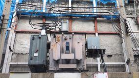 Vintage Large High voltage transformer made in Thailand at Bangk Stock Photography