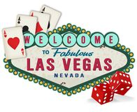 Vintage Las Vegas Sign Logo with Dice and Playing Cards. Las Vegas Welcome Sign Vintage Rustic Logo Art Metal Tin Old with Playing Cards and Red Dice Royalty Free Stock Image