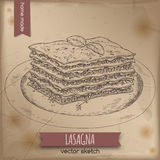 Vintage lasagna template placed on old paper background. Great for market, restaurant, cafe, food label design Royalty Free Stock Photos