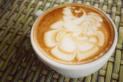 Vintage latte art coffee Royalty Free Stock Photo