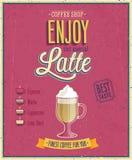 Vintage Latte Poster. vector illustration